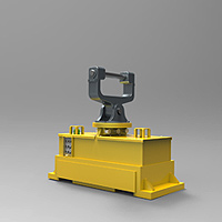 Gripper suspension with support fork for direct mounting to dipper arm, also with hydraulic operation